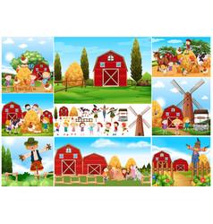Children and scarecrow in farmyard vector
