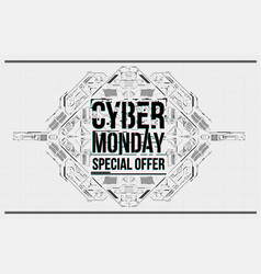 cyber monday background with futuristic user vector image