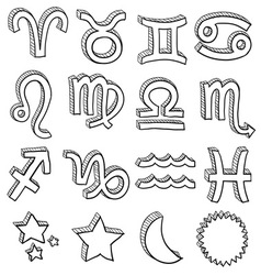 Doodle horoscope astrology set d vector