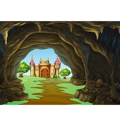 Far away kingdom with castle and cave vector