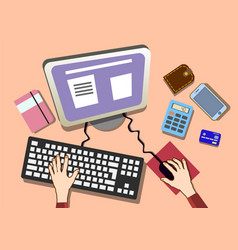 flat design work desk with hands office workplace vector image vector image