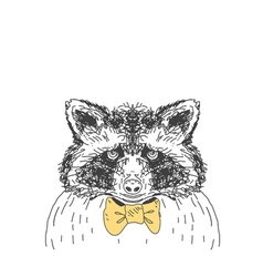 Hand drawn wild forest deer raccoon vector