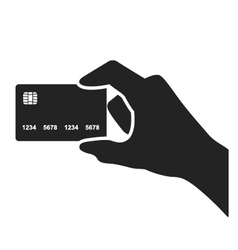 Hand holding credit card black icon vector