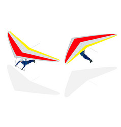 Isometric hang glider soaring the thermal updrafts vector