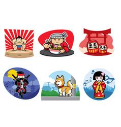 Japan badge design set vector
