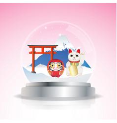 Japan snow globe vector