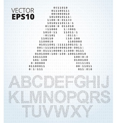 Letter A-Z alphabet from binary code vector image vector image