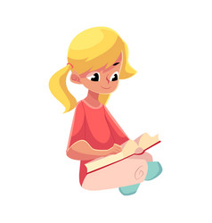 Little blond girl with ponytails reading book vector