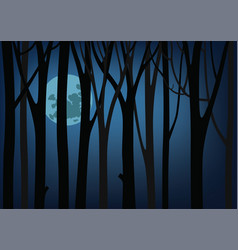 Night and a large moon luminous between trees vector