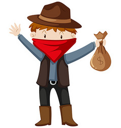 Robber with money bag vector