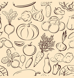 Seamless vegetables pictograms vector