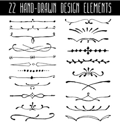 Set of hand-drawn line border dividers and design vector image vector image