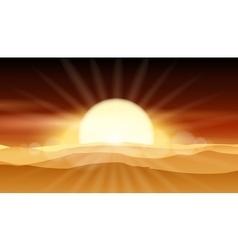 Sunset desert background or sunrise over sandy vector image