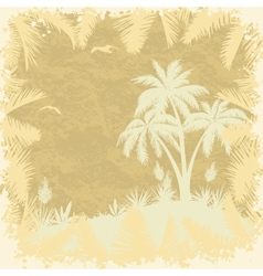 Tropical palms trees and seagulls silhouettes vector