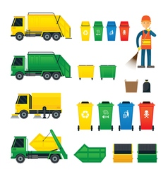 Waste collection truck bin dumpster sweeper vector