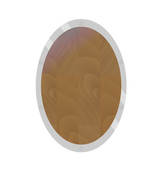 wooden shield flat oval form vector image vector image