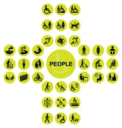 Yellow cruciform disability and people Icons vector image vector image