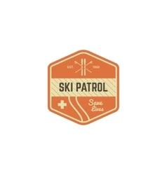 Ski patrol patch vintage outdoor design with vector
