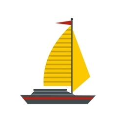 Boat with yellow sail icon flat style vector