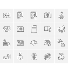 Self-education sketch icon set vector