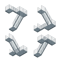 Isometric staircase set of various vector