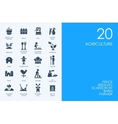 Set of blue hamster library agriculture icons vector