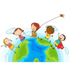 Kids running around the world vector
