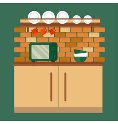 Kitchen and furniture interior flat style vector image