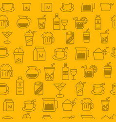 Line style icons seamless pattern baverage vector