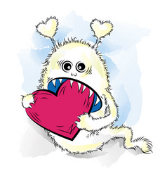 Drawing cool monster in love st valentines vector
