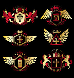 Vintage decorative heraldic emblems composed vector