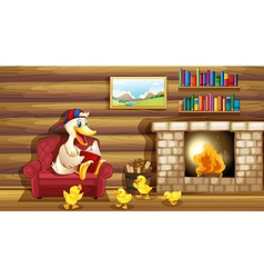 A duck and her ducklings near the fireplace vector image