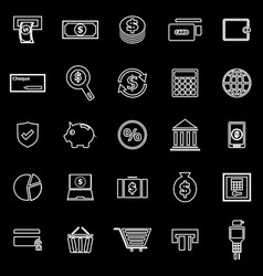 Payment line icons on black background vector