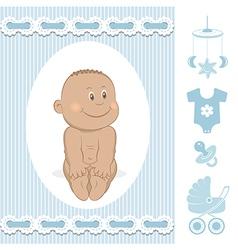 Cute African baby boy vector image