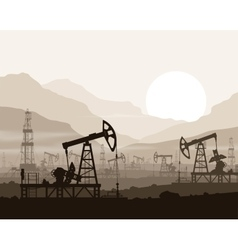 Oil pumps and rigs at oilfield over mountains vector