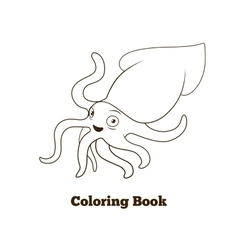Coloring book squid fish cartoon vector