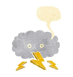 Cartoon thundercloud with speech bubble vector