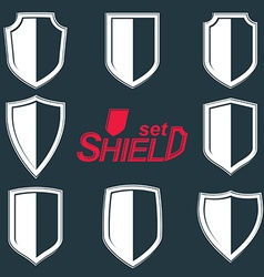 Collection of grayscale defence shields vector