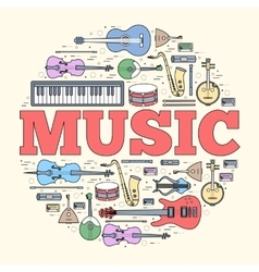 Music instruments circle concept icons design for vector