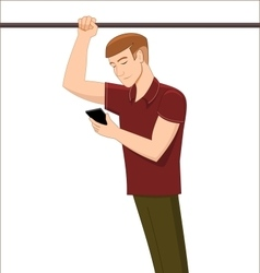 Man with cell phone standing in public transport vector