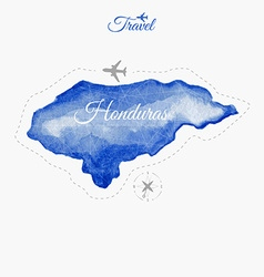 Travel around the world Honduras Watercolor map vector image