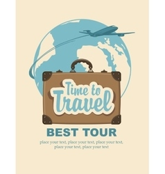 travel suitcase and passenger plane on planet vector image