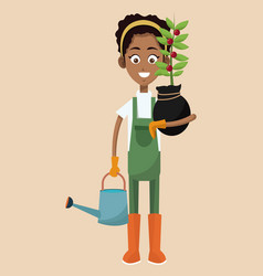 african woman farmer plant and water can vector image