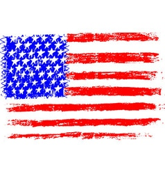 American flag pencil drawing kid sty vector