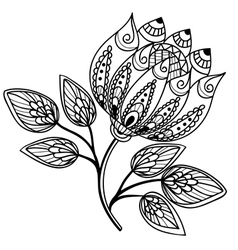 Beautiful black-and-white flower hand drawing vector