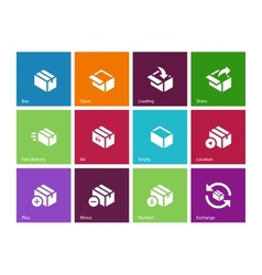 Box icons on color background vector image vector image