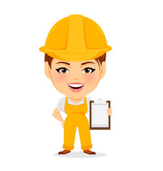 builder woman funny female worker with big head vector image vector image