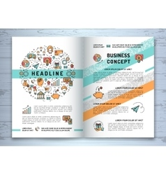 Business brochure template a4 size line vector