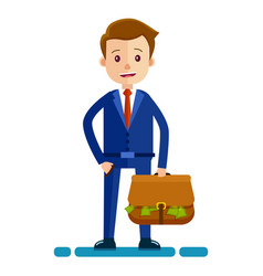 businessman with bag full of money vector image vector image
