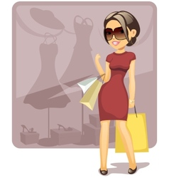 Cartoon shopping girl vector image vector image